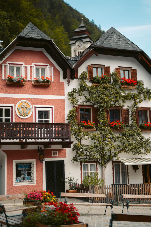 Beautiful houses in the Marktplatz of Hallstatt, Austria.