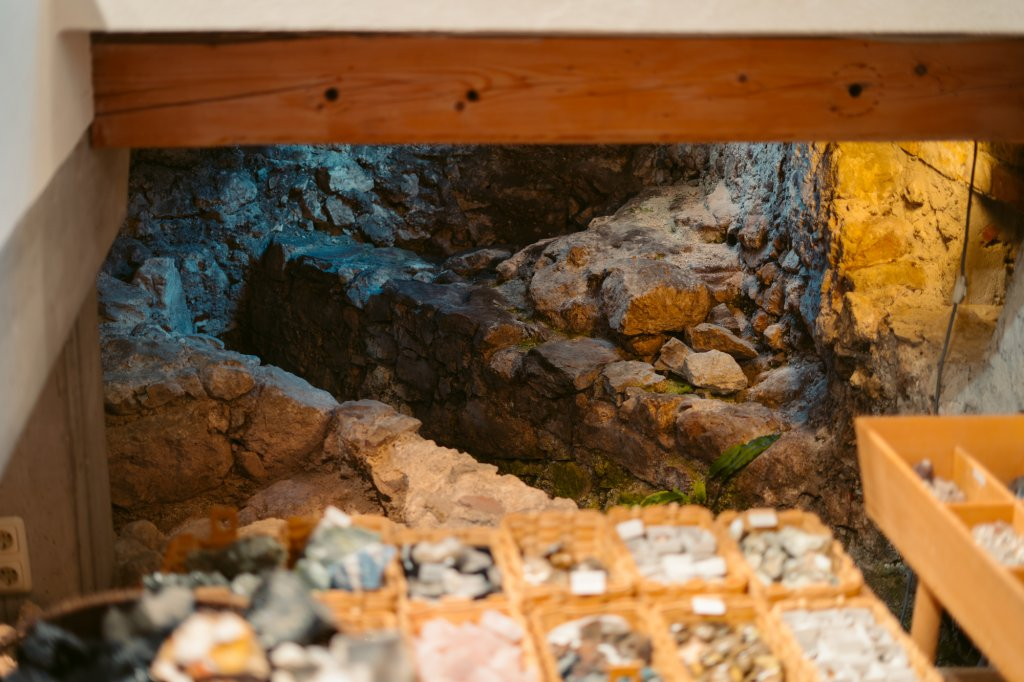 Hidden Roman ruins in a sporting goods shop in Hallstatt, Austria.