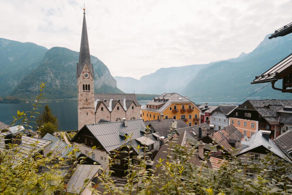 A view above Hallstatt, Austria overlooking the village's Evangelical Church.