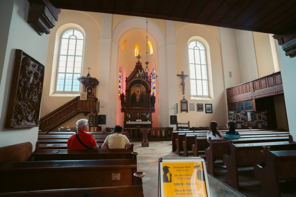 Inside the Evangelical Church of Hallstatt, Austria.