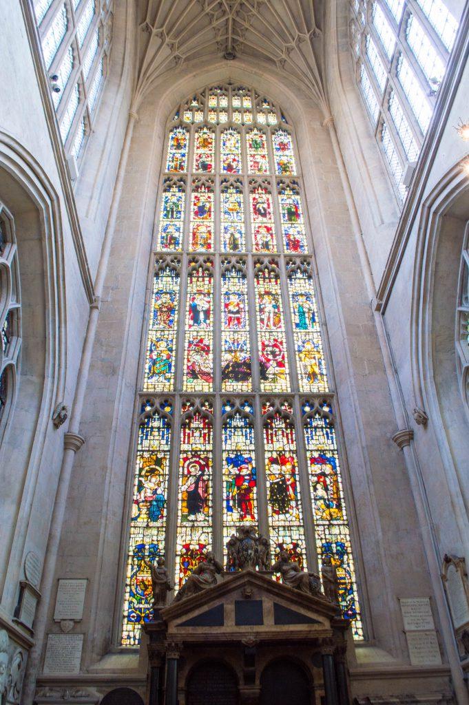 Inside the famous Abbey of Bath, England.