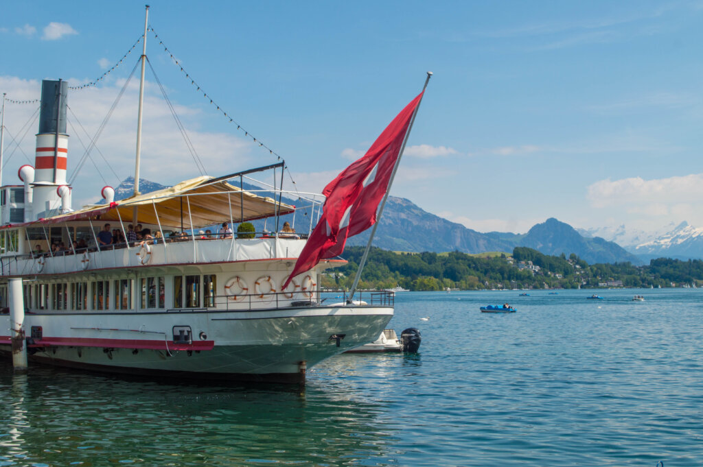 Boat cruise on the waters of Lake Lucerne in Switzerland