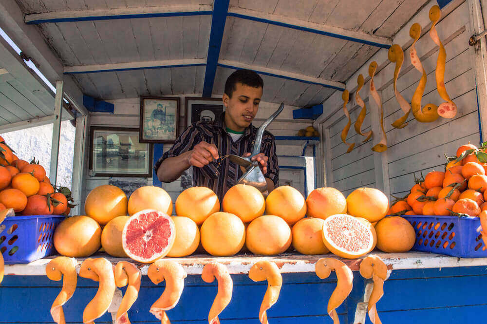 Orange juice stall in Essaouira, Morocco