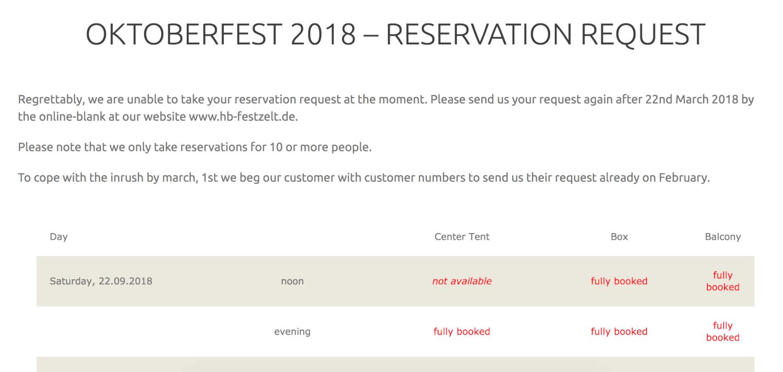 Hofbräu Festzelt reservation system
