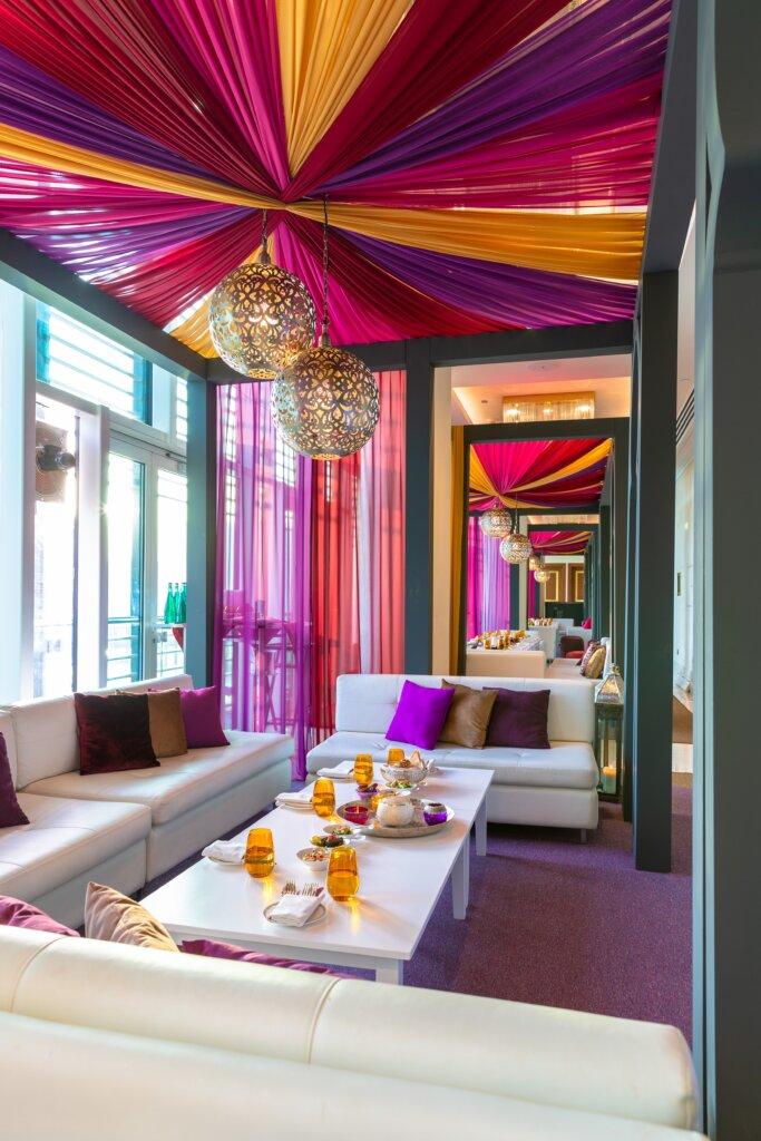 Vibrant hotel lobby