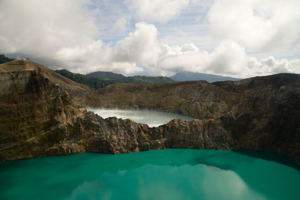 Different coloured lakes at Kelimutu Indonesia