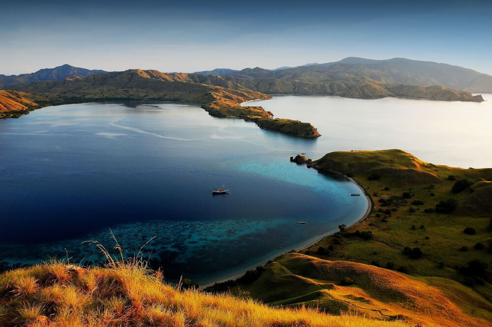 Sunset view over lakes at Komodo National Park, Indonesia