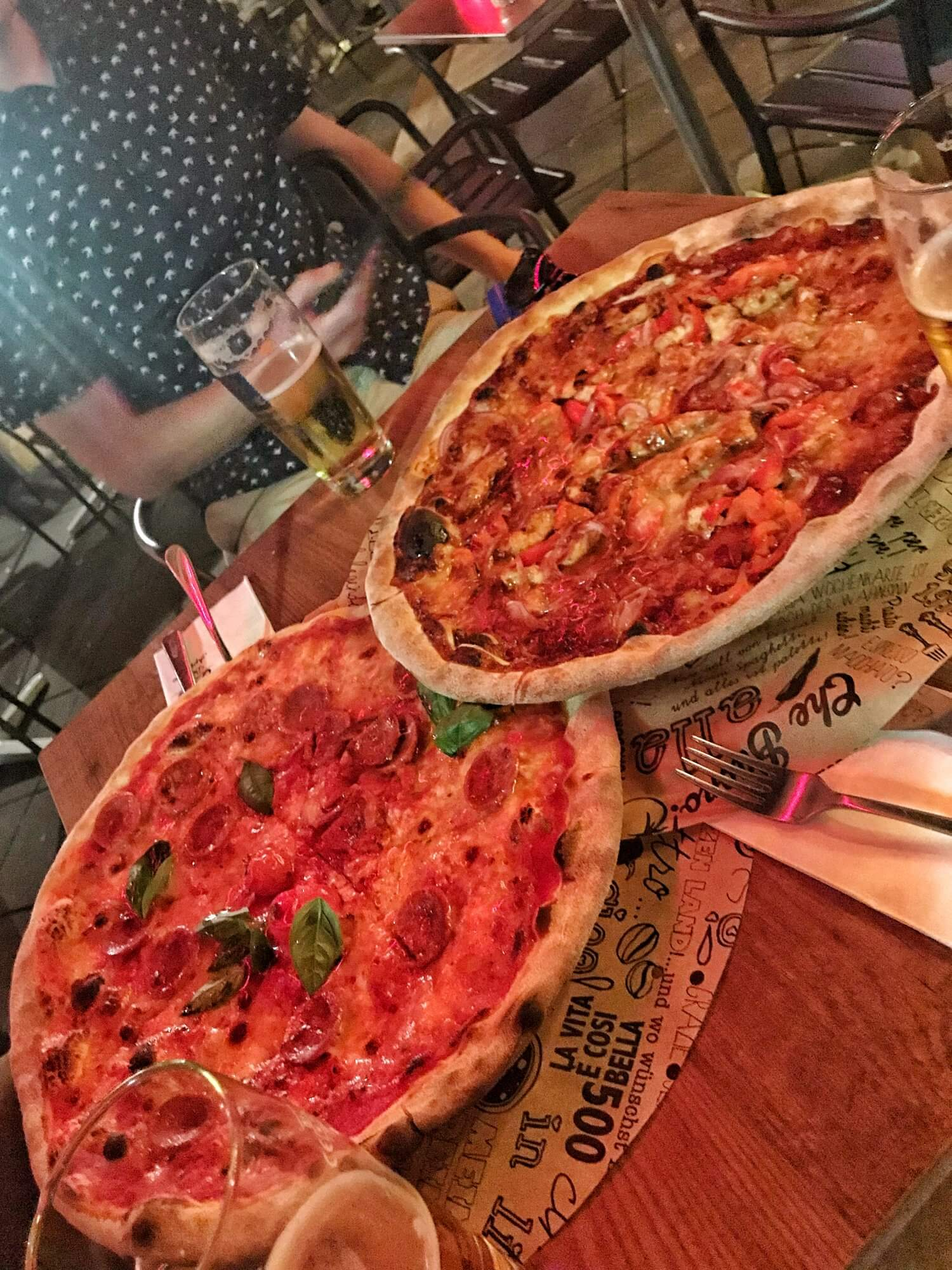 Giant pizzas at L'Osteria