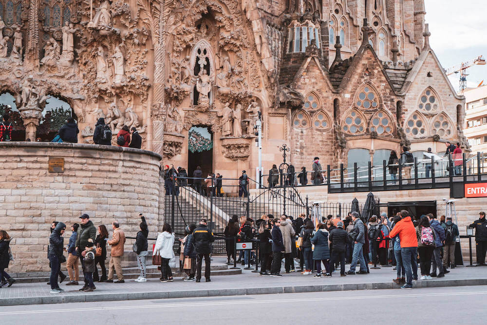 The line-up for Sagrada Familia in the off-season in Barcelona, Spain