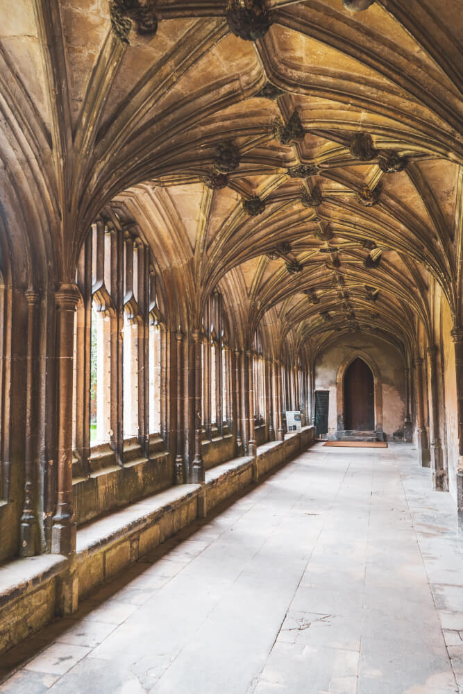 Lacock Abbey cloister in Lacock, England