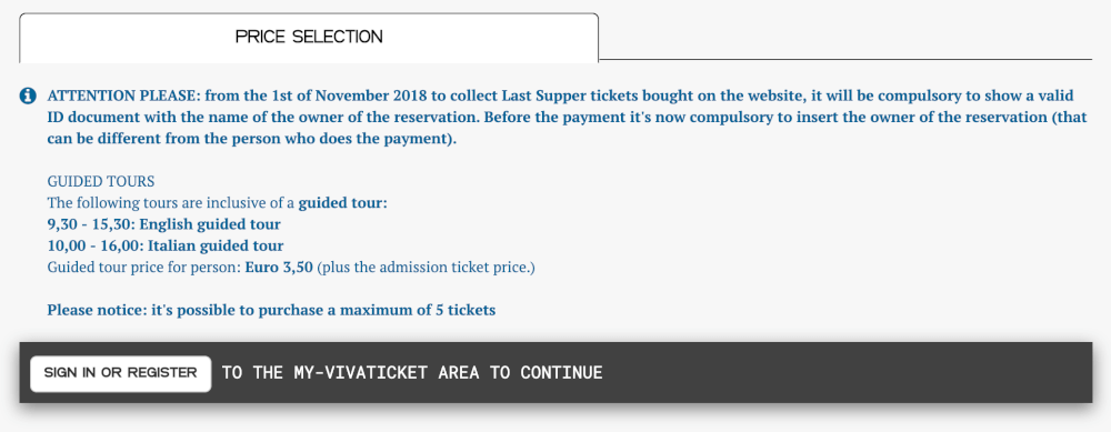 Screenshot of the ticket buying process for the last Supper in Milan, Italy