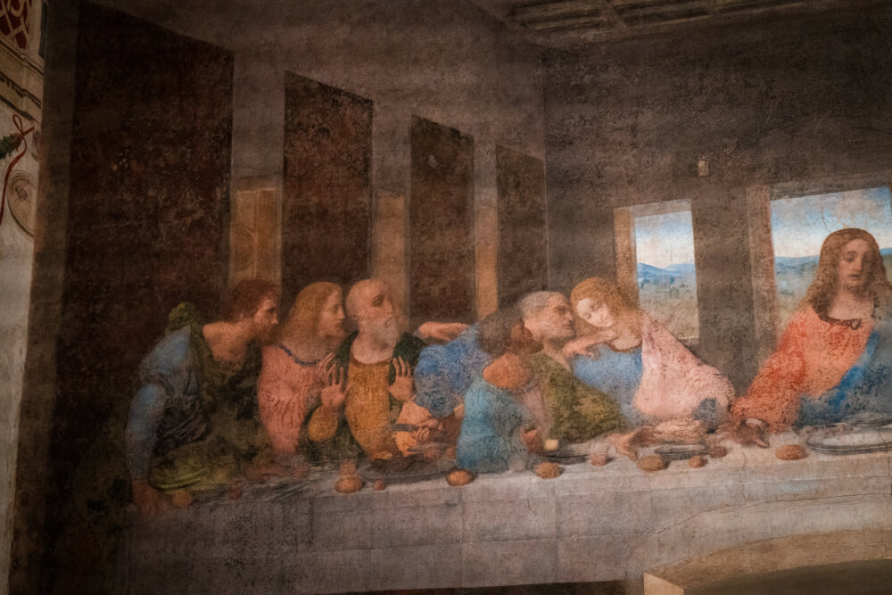 The Last Supper painting in Milan, Italy up close