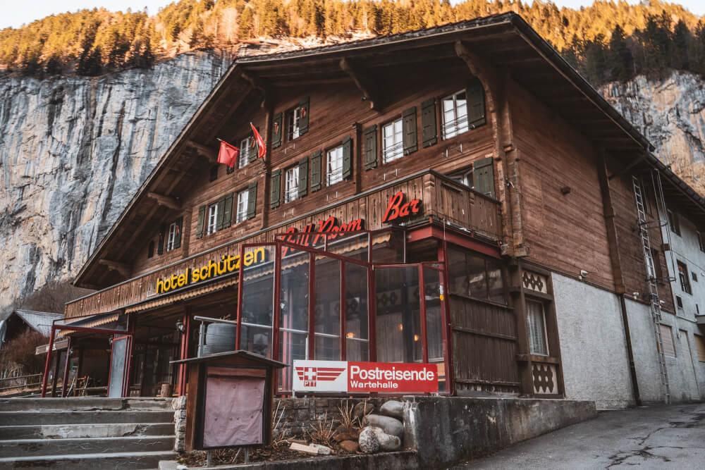 Old wooden hotel in Lauterbrunnen, Switzerland.