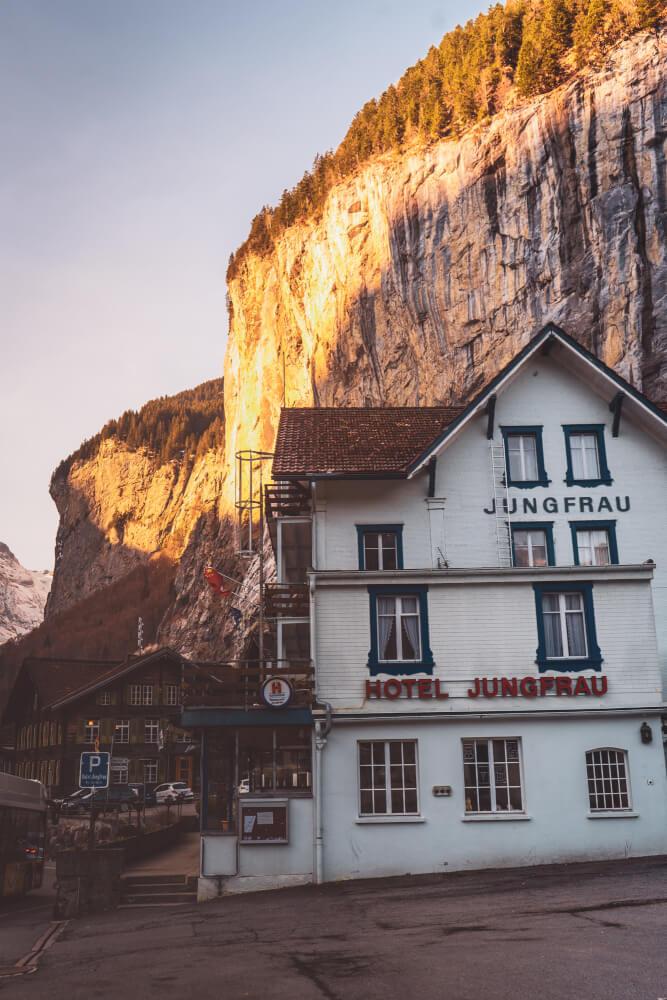Sunrise view of a hotel in Lauterbrunnen, Switzerland.