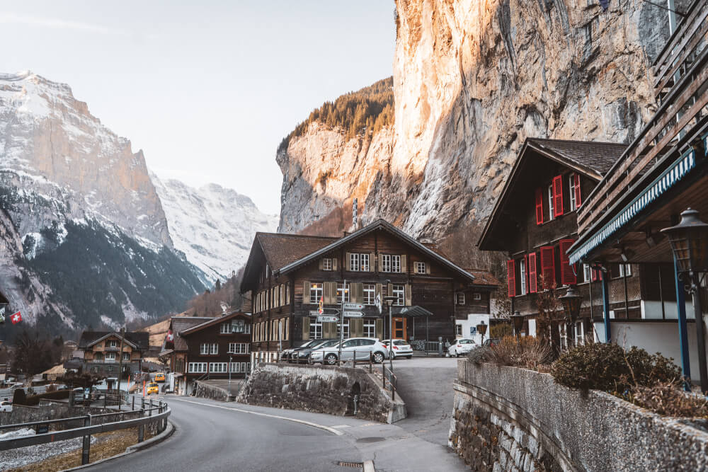 A magical view of Lauterbrunnen, Switzerland from the main street