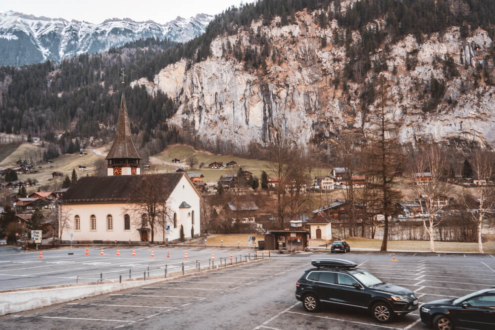 Lauterbrunnen church car park