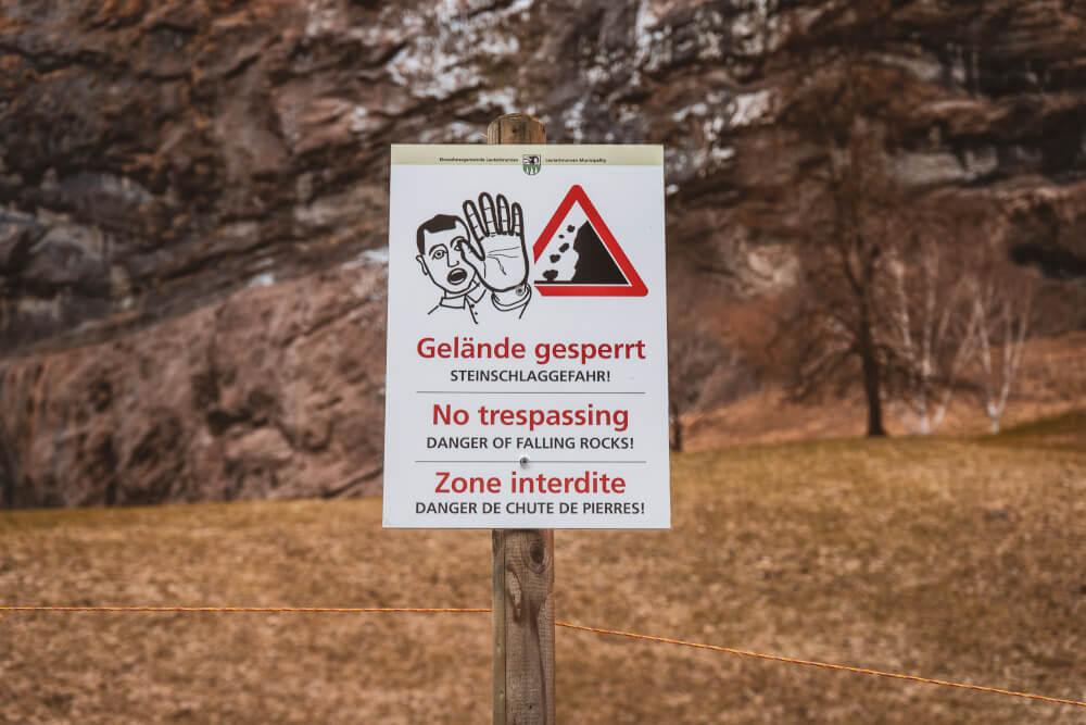No trespassing sign in Lauterbrunnen, Switzerland.