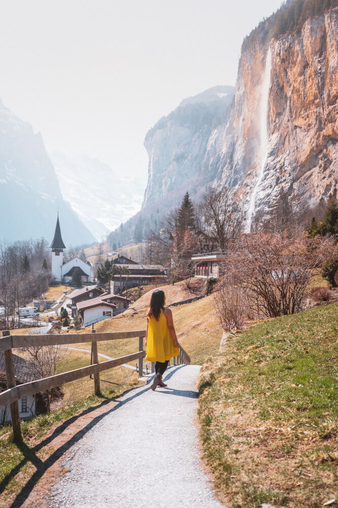 Amazing view in Lauterbrunnen Switzerland from a side path.