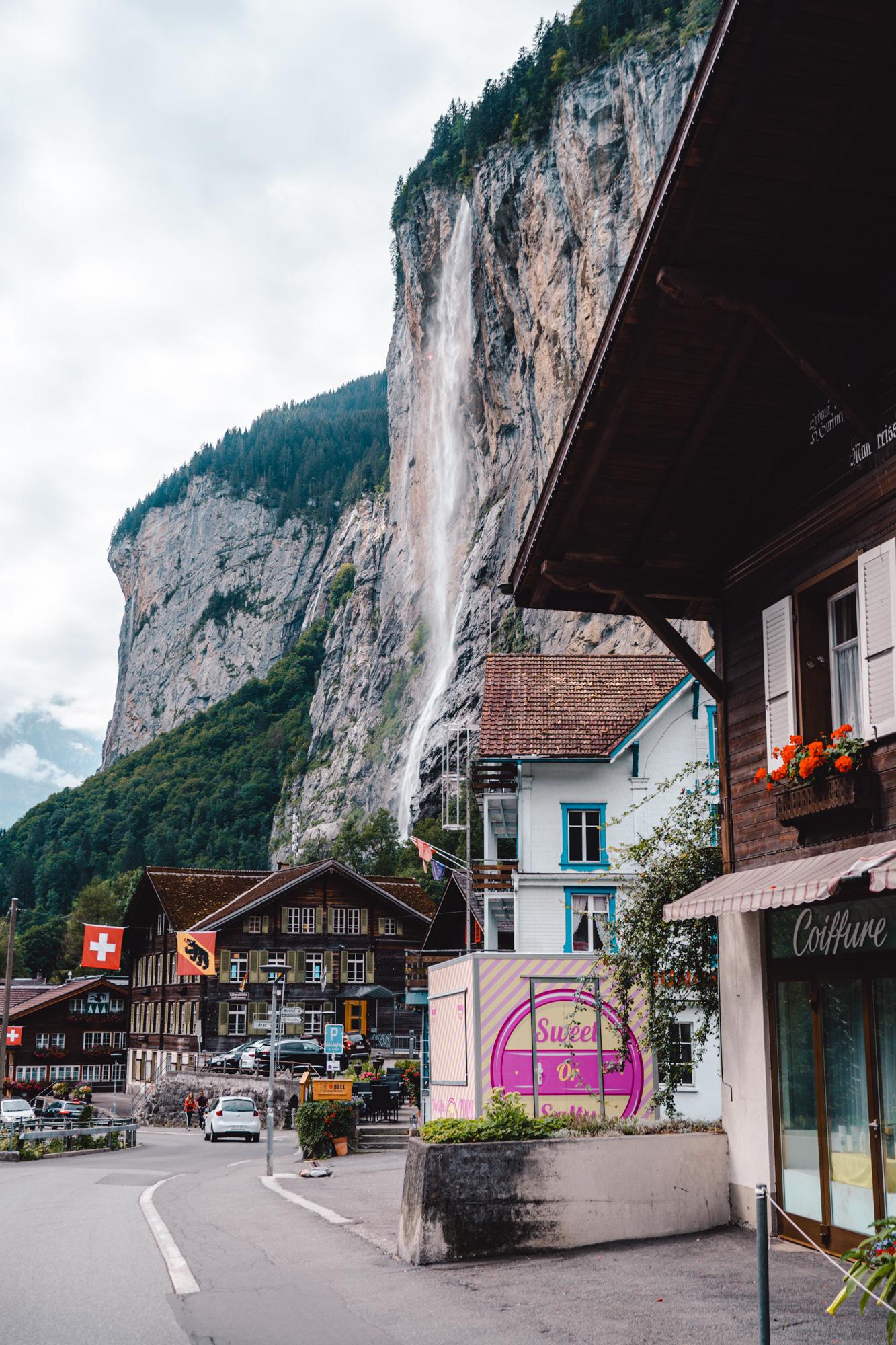 Beautiful view of Lauterbrunnen's main street in Switzerland.