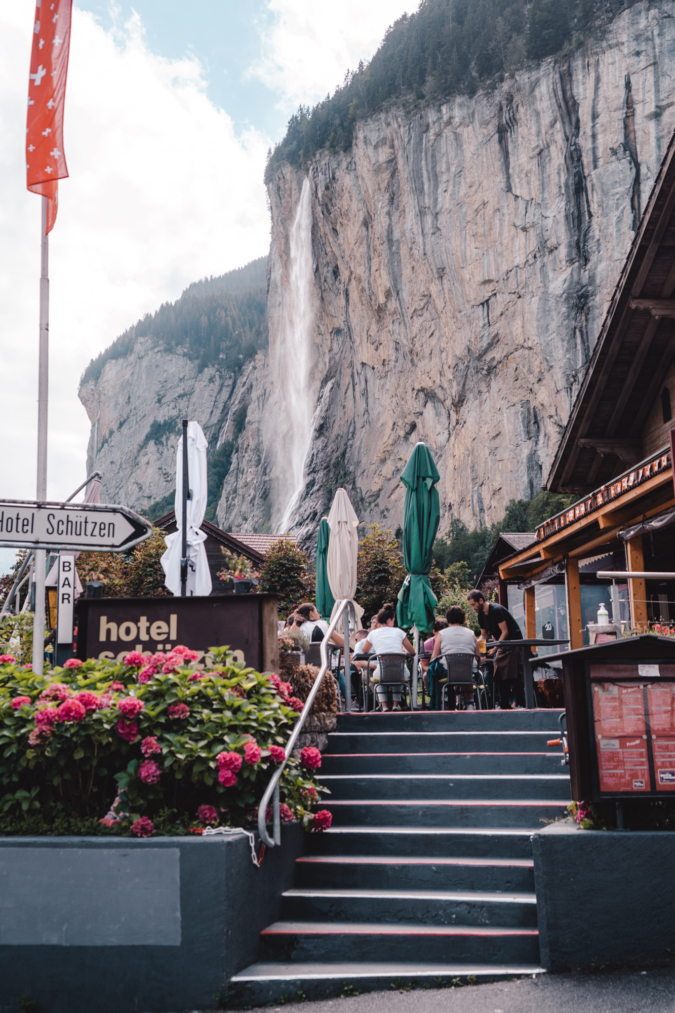 Beautiful Lauterbrunnen view in the middle of town.