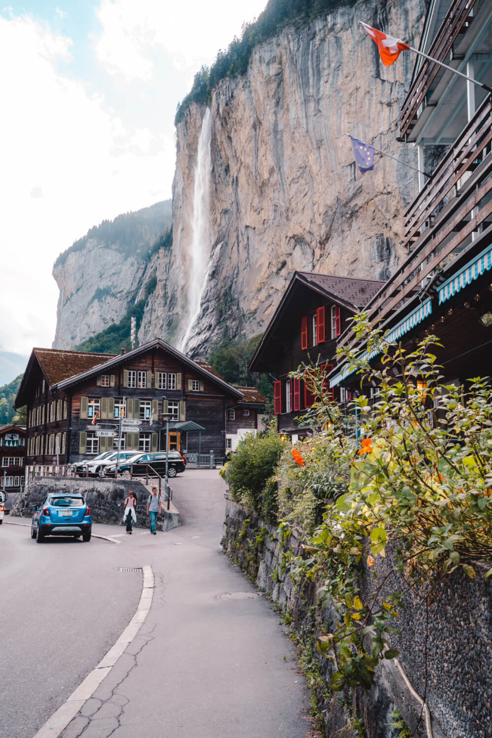 View of Lauterbrunnen, Switzerland from the main street.