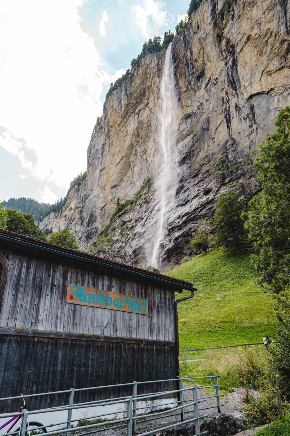 Beautiful view of Staubbachfall in Lauterbrunnen, Switzerland.