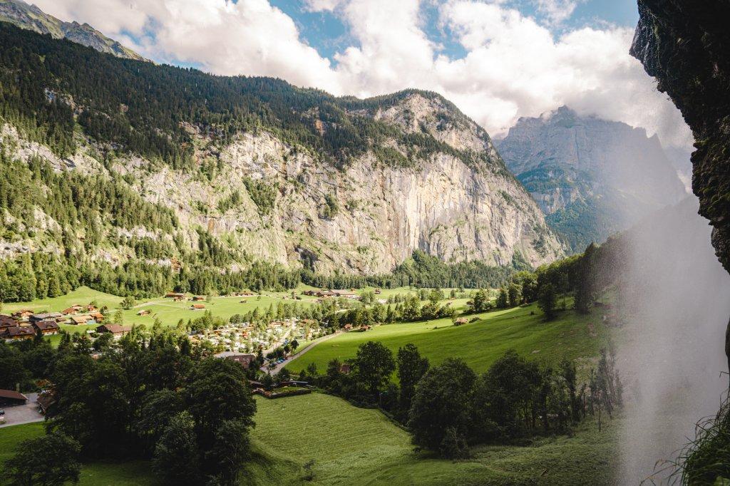 A view behind Staubbach Falls in Lauterbrunnen.