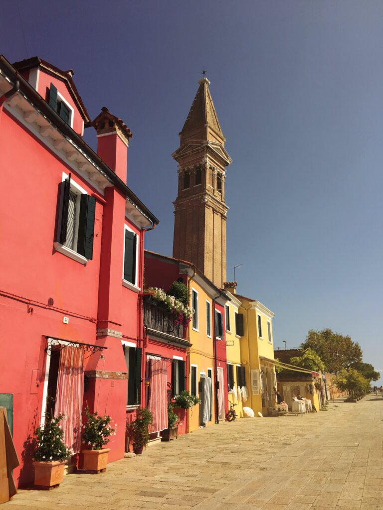 Leaning church tower in Burano, Italy