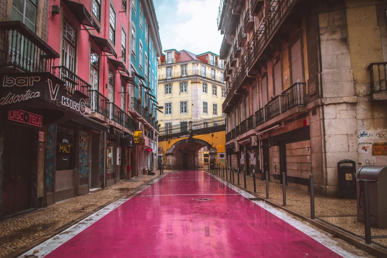 Lisbon's famous pink street - Rua Nova do Carvalho