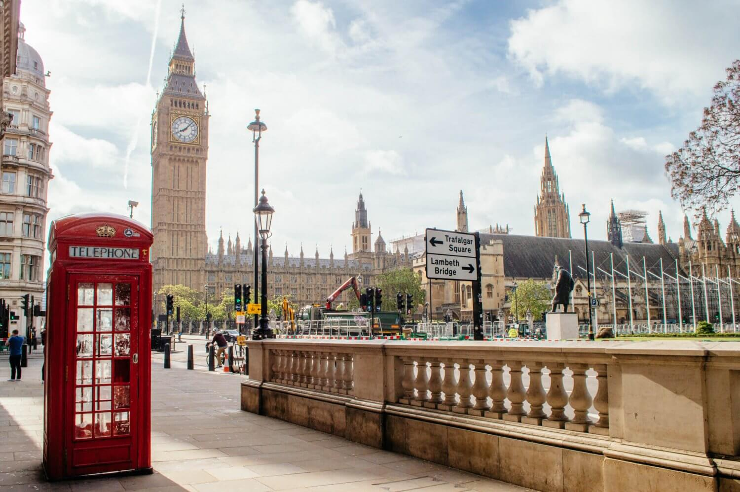 Iconic photo of London featuring Big Ben and a red phone booth