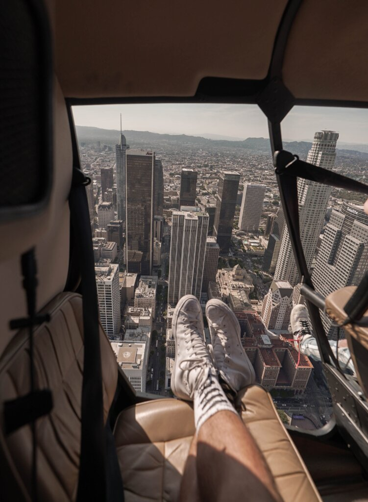 Helicopter view over downtown LA