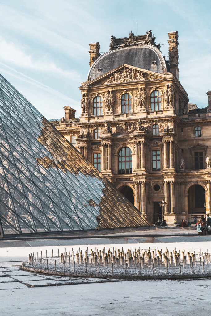 Glass pyramid installation in the courtyard of the Louvre Museum in Paris, France