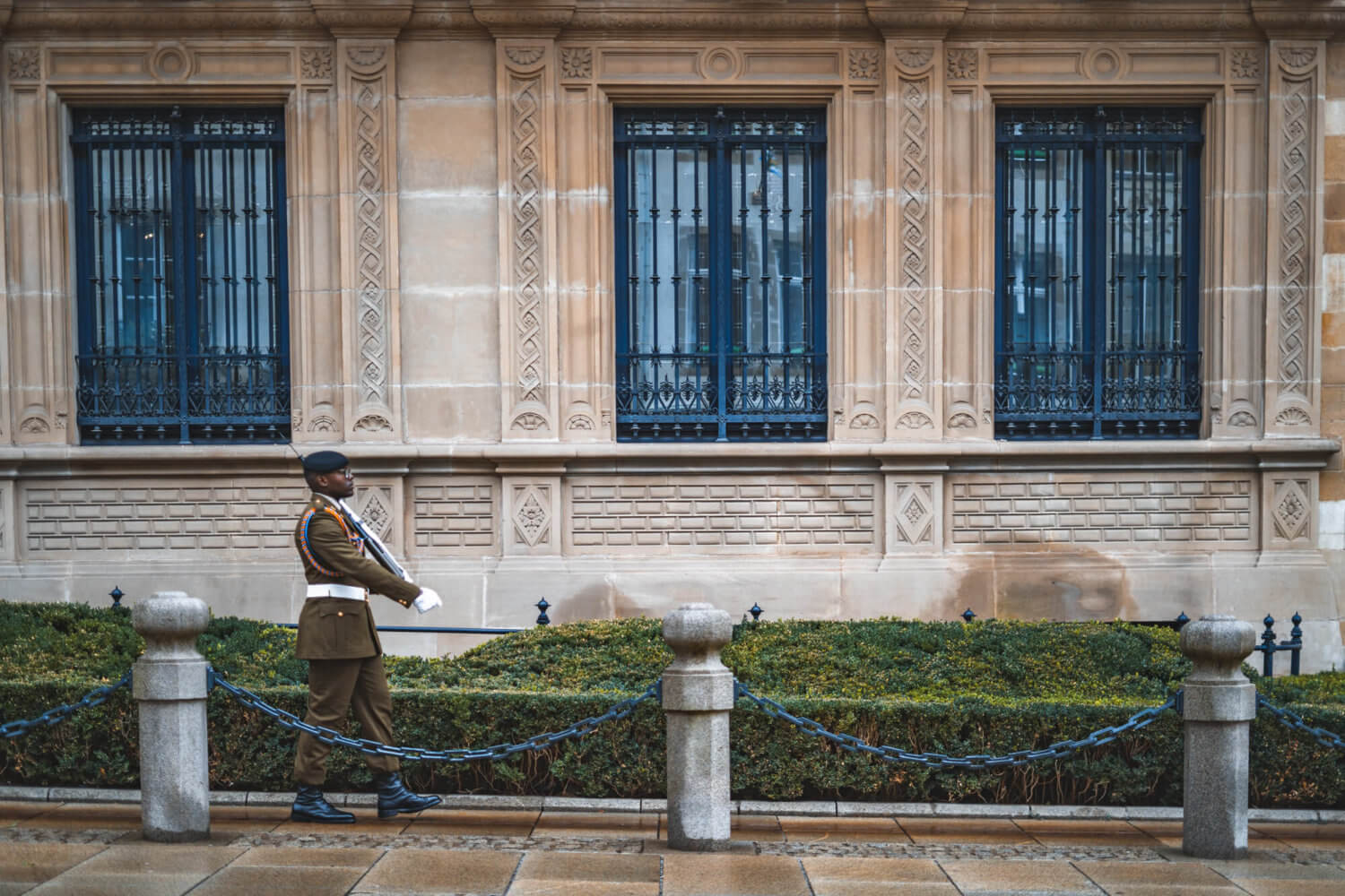 A marching guard in front of the Grand Duchal Palace in Luxembourg City