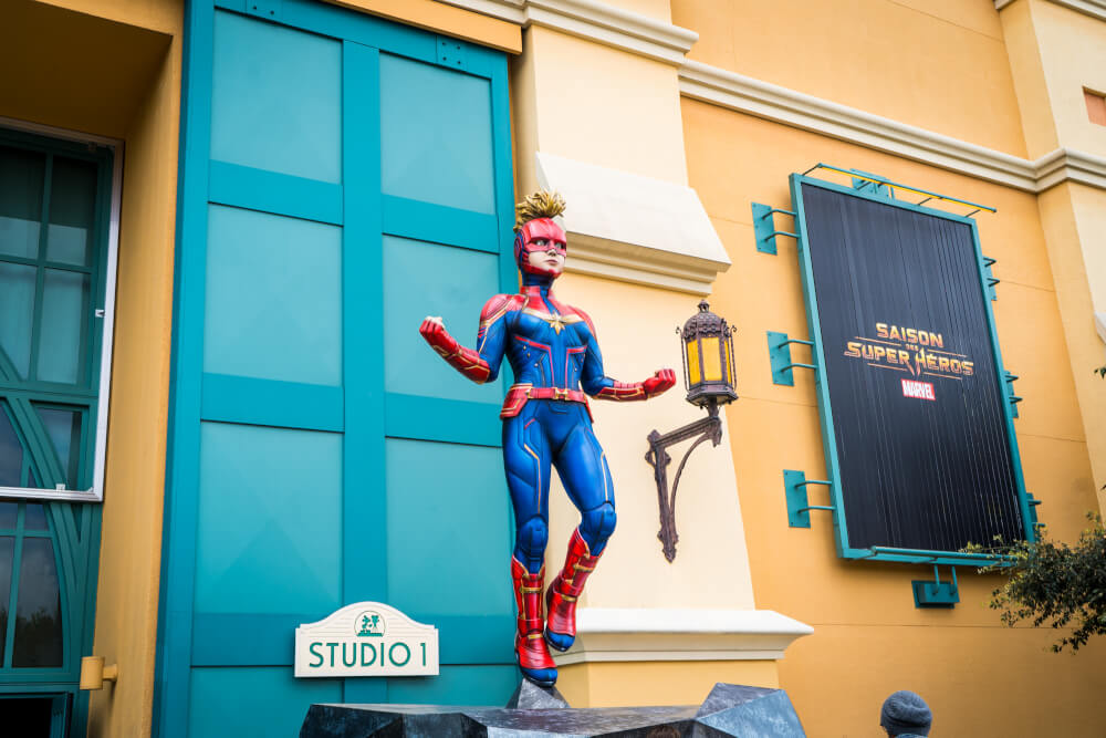 Colossal Captain Marvel at Marvel Season of Heroes in Disneyland Paris