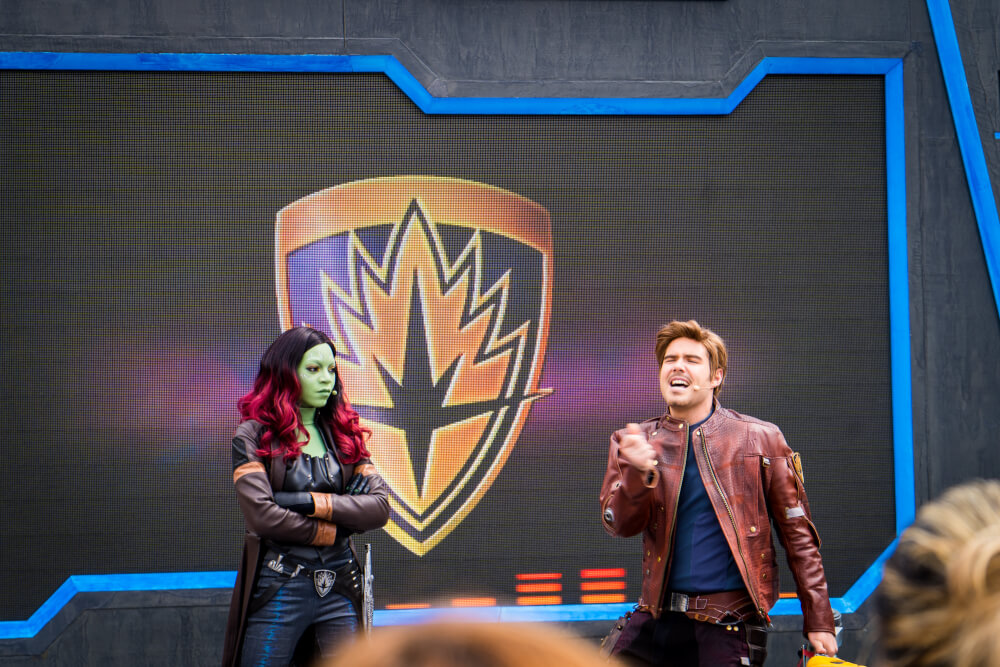 Guardians of the Galaxy dance-off at the Marvel Season of Heroes at Disneyland Paris