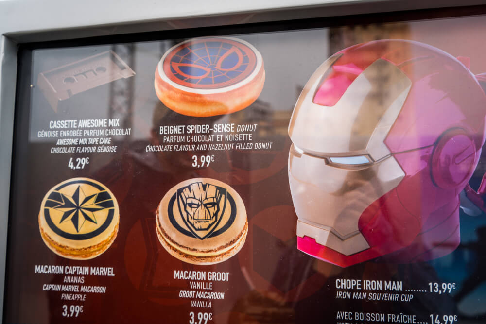 Marvel-themed treats at the Marvel Season of Heroes in Disneyland Paris