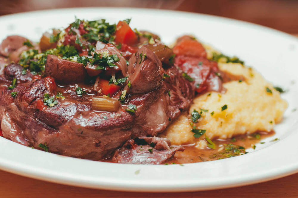 Juicy Osso Buco with a side of polenta