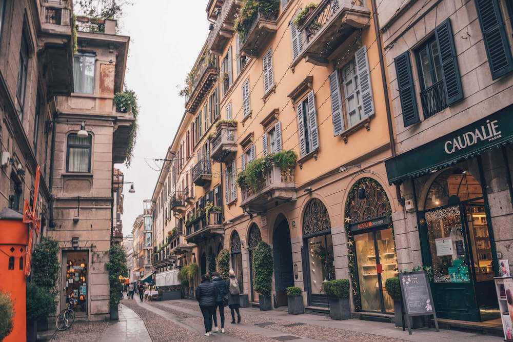Brera District in Milan, Italy
