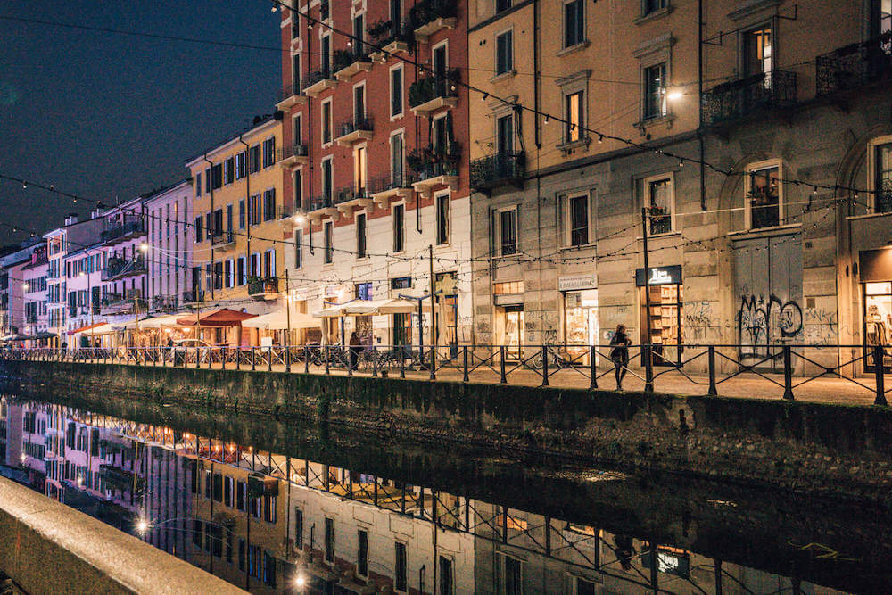 Milan's Navigli District by night