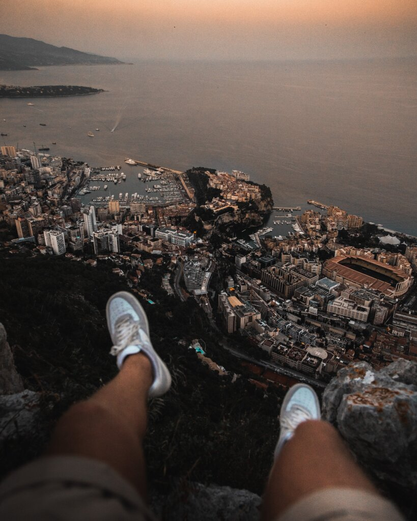 High-up viewpoint of Monaco and the French Riviera