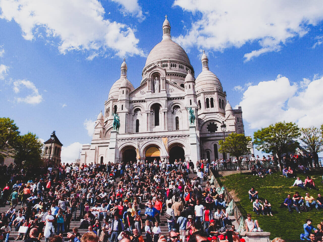 Crowds at Sacre Coeur Basilica in Montmartre, Paris, France