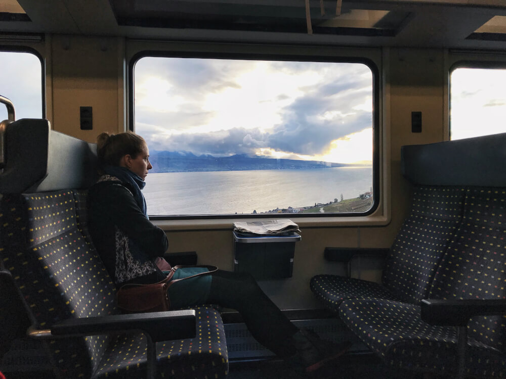 Swiss train ride from Montreux to Lausanne