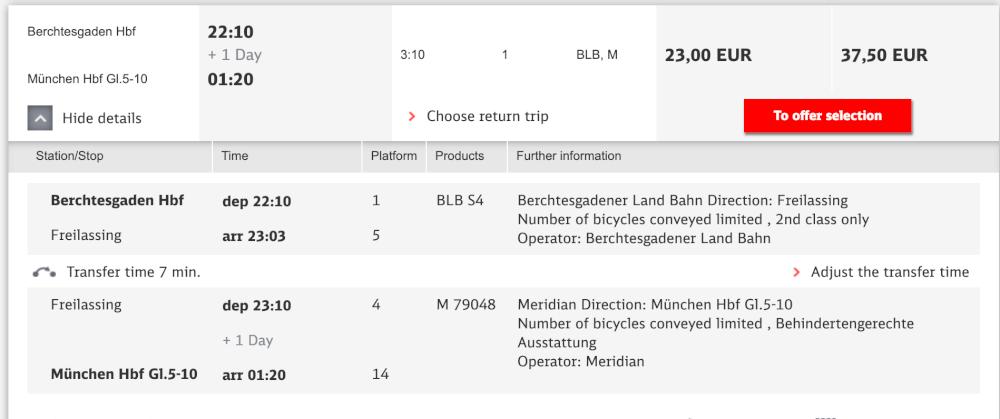 Screenshot of train schedule from Munich to Berchtesgaden