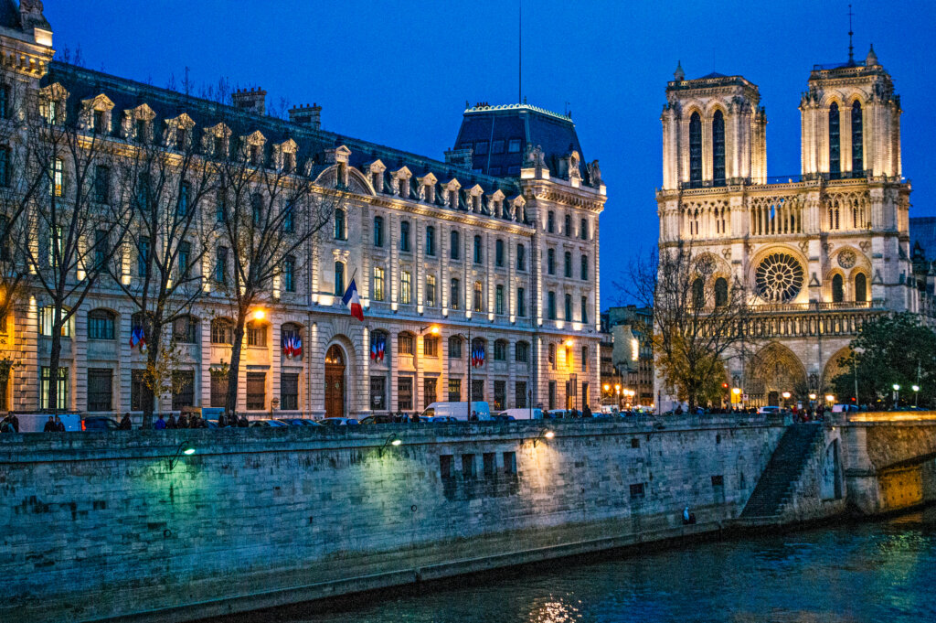 Notre dame cathedral at blue hour in Paris France