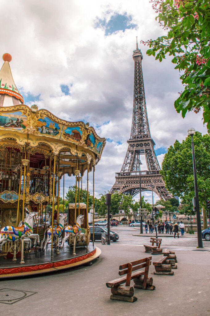 Carousel in Paris with the Eiffel Tower in the background