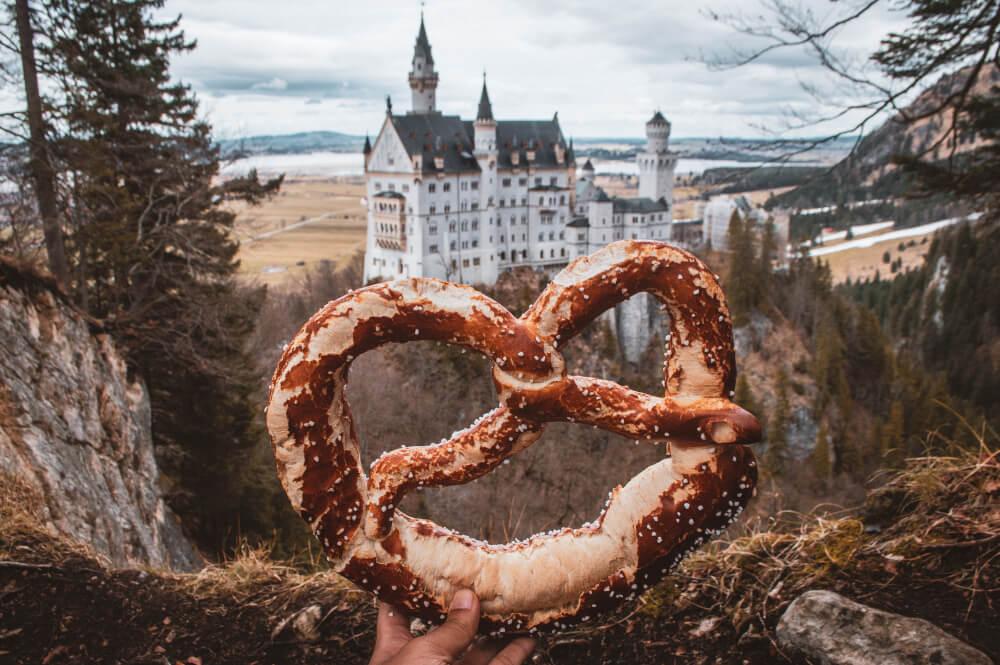 Neuschwanstein Castle with a pretzel