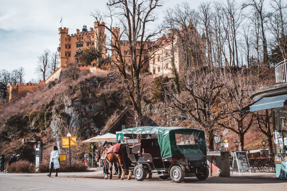 Horse carriage in front of Hohenschwangau Castle