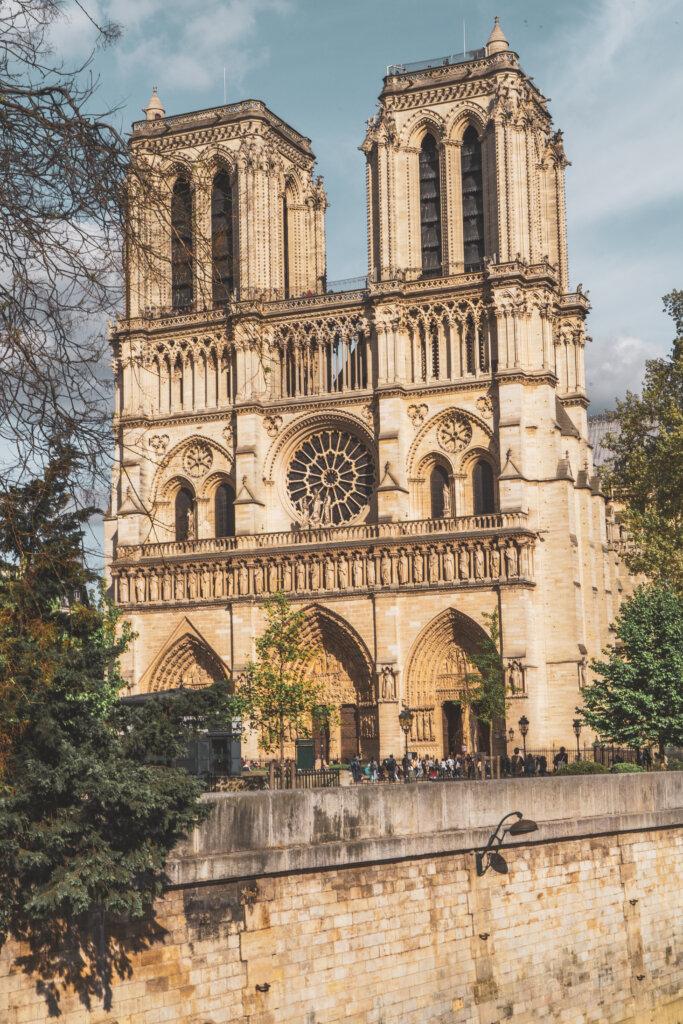 View of the Notre Dame de Paris from across the river