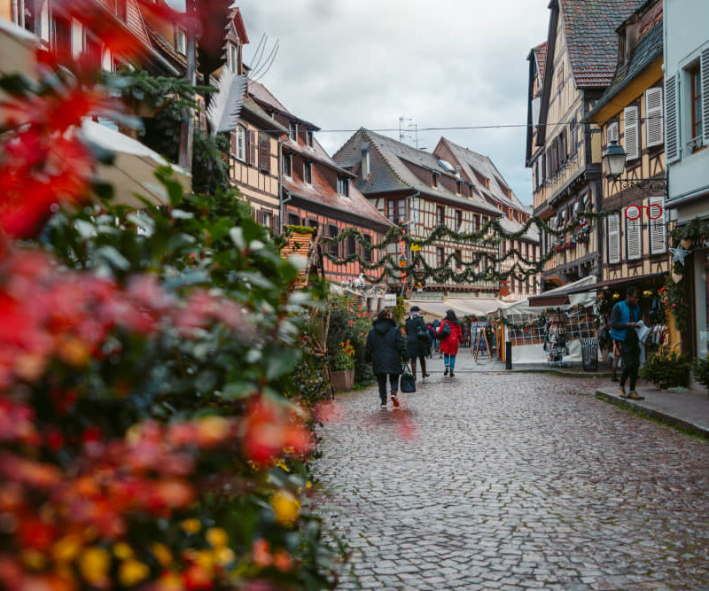 Half-timbered houses along the main street in Obernai, France