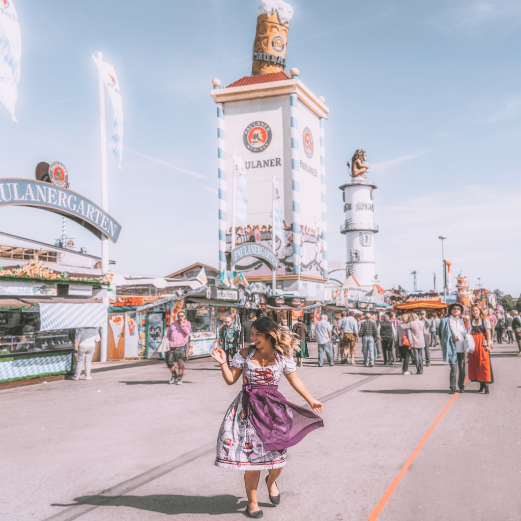 Christina Guan in a dirndl at Oktoberfest